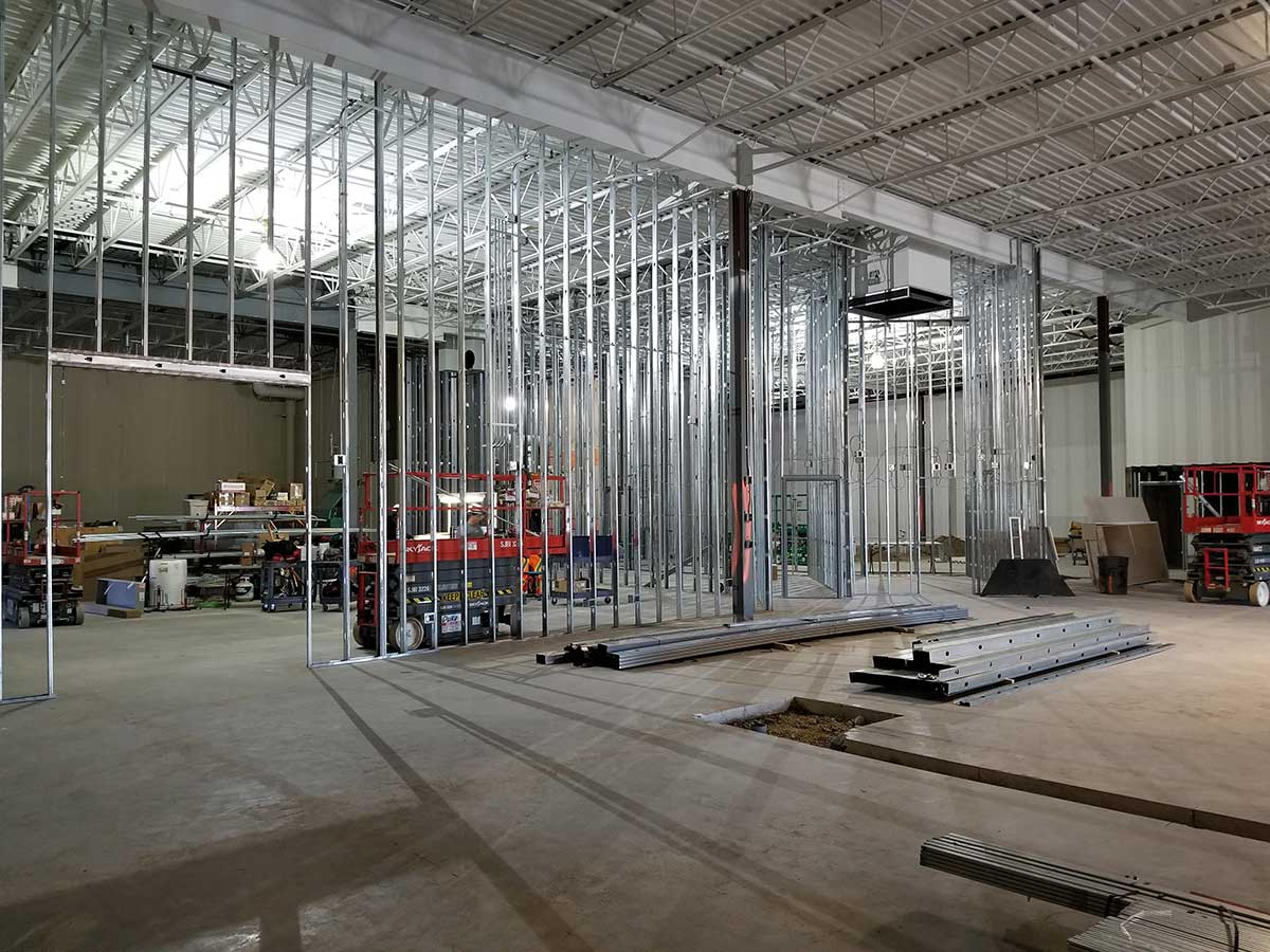 Interior of Fun Lab during construction